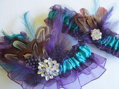 Wedding Garter Set Purple Organza Garters by NakedOrchidGarters, $51.99