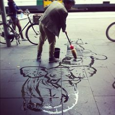 Waterpainting, street art in Melbourne  Splash Baron: www.facebook.com/SplashBaron?fref=ts