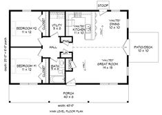 House Plan 51610 - Country, Ranch Style House Plan with 1000 Sq Ft, 2 Bed, 1 Bath 2 Bedroom Floor Plans, 2 Bedroom House Plans, Small House Floor Plans, Pole Barn House Plans, Apartment Floor Plans, Ranch House Plans, Cottage House Plans, New House Plans, 30x40 House Plans