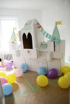 princess, princess party, birthday party, little girl, party, castle, cardboard castle