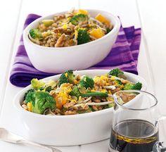 Broccoli Super Salad from Healthy Food Guide NZ Large Salad Bowl, Salad Bowls, Healthy Salads, Healthy Food, Foods High In Iron, High Iron, Broccoli Recipes, Vegan Recipes, Vegetarian