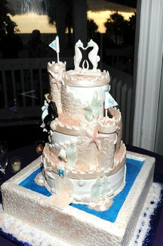 Sand Castle- Kissing Seahorses- Beach Theme-Hilton LongBoatKey-The Cake Zone