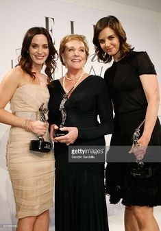(L-R) Actress Emily Blunt, L'Oreal Paris Legend Award recipient actress Julie Andrews, and actress Katie Holmes attend the 16th Annual ELLE Women in Hollywood Tribute at the Four Seasons Hotel on October 19, 2009 in Beverly Hills, California. (Photo by Donato Sardella/WireImage)