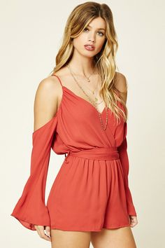 A textured woven romper featuring open shoulders with ruching, a faux wrap-front, a surplice self-tie back, long bell sleeves, and an elasticized waist with a sash belt. This is an independent brand and not a Forever 21 branded item.
