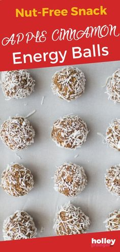 Need a nut-free snack to pack in your kids lunchbox or a healthy afterschool snack to keep your kids going until dinner? These apple cinnamon energy balls are just the thing! Full of fall flavor, these sweet, fiber-rich apple cinnamon energy balls can be customized to suit your taste (and allergies). You can even get your kids in the kitchen to bake this easy snack. | Cleverful Living Healthy Afterschool Snacks, Healthy Toddler Meals, Nutritious Snacks, Healthy Snacks For Kids, Easy Snacks, Toddler Food, Nut Free Snacks, Desserts For A Crowd, Energy Balls