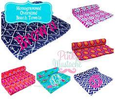 Monogrammed Beach Towel / Pool Towel / Bridesmaid Gift / Graduation Gift / BIG MONOGRAM