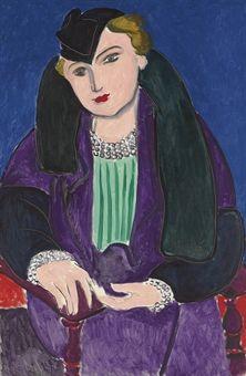 Henri Matisse (1869-1954)   Portrait au manteau bleu   signed and dated 'Henri Matisse 35'  oil on canvas   Painted 11-16 December 1935