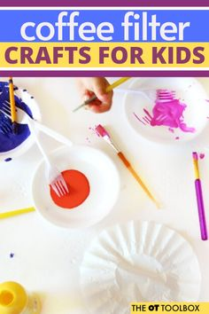 Use coffee filter crafts to help kids work on skills like fine motor skills, scissor use, bilateral coordination, and more. Coffee Filter Crafts, Coffee Filter Flowers, Coffee Filters, Kids Work, Art For Kids, Help Kids, Kid Art, Quick Crafts, Kid Crafts