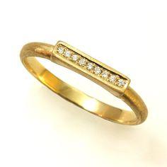 Unique Diamond Ring  14K / 18K Solid Gold by SillyShinyDiamonds