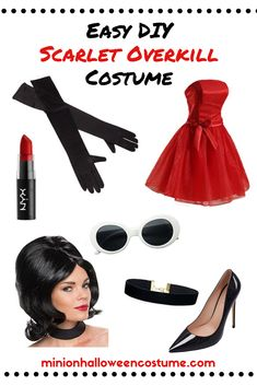 Despicable Me is a great group Halloween costume idea. One person should go as the iconic villain Scarlet Overkill. Despicable Me Costume, Minion Halloween Costumes, Happy Halloween, Cute Couples Costumes, Family Costumes, New Minions Movie, Buy Costumes, Little Red Dress, Retro Costume