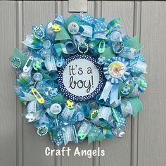 It's a boy wreath, baby boy wreath, baby shower wreath, nursery wreath, deco mesh blue wreath, baby shower gift, front door wreath, free hat