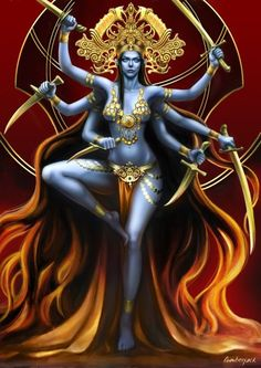 Kali Goddess by lunarmimi on DeviantArt Kali Goddess, Indian Goddess, Goddess Art, Kali Tattoo, Orishas Yoruba, Mother Kali, Kali Mata, Lord Shiva Painting, Geniale Tattoos