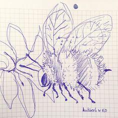 Day 3: doodle a bee. #hulsbeekenko #365doodleswithjohannafritz #doodle #illustratie #illustration #bee #flower