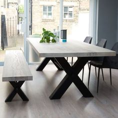 Dining Table Design Desk Inspiration (From Stock: Bolt Solid Wood & Metal Dining Table) Concrete Dining Table, Wooden Dining Tables, Table And Chairs, Concrete Wood, Wooden Dining Table Modern, Kitchen Dining Tables, Metal Leg Dining Table, Timber Table, Bar Tables