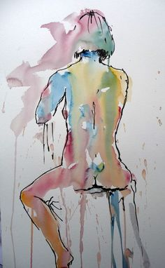 This striking nude was painted in Brusho by Joanne Boon Thomas. Find out more about Joanne's Brusho artwork and tutorials at BrushoSecrets.com