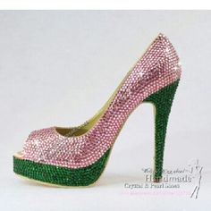 Pink and green crystal heels--A must have.