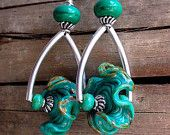 Teal Lampwork Glass Ruffle Wheel & Sterling Silver Earrings - 1024