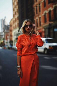 Tired of the blah colors of winter? Brighten things up with an orange monochromatic look. Let Daily Dress Me help you find the perfect outfit for whatever the weather! dailydressme.com/