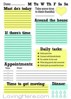 Free Printable To Do List! Great way to stay organized while working from home!