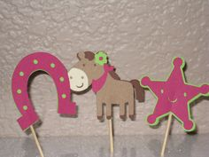 Girly Cowgirl Cupcake Toppers Set of 12 by LittleBirdiPaperShop, $7.50