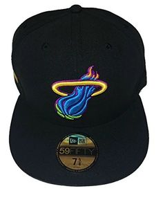 premium selection 686f5 ad09a NBA Miami Heat New Era Fluorescent Neon Hardwood Classics HWC 59FIFTY  BlackBlueGreen Fitted Cap Hat Size