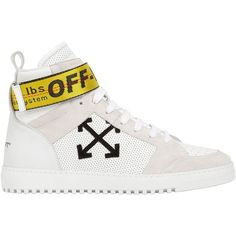 Off White Men Towing Strap Suede High Top Sneakers ($620) ❤ liked on Polyvore featuring men's fashion, men's shoes, men's sneakers, white, mens shoes, mens high top shoes, mens high top sneakers, mens white high tops and mens white shoes