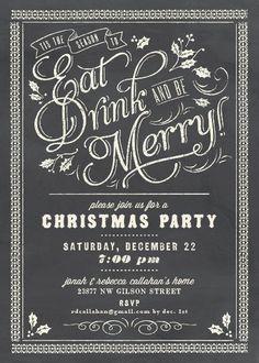 Chalkboard Celebration Holiday Party Invitations by Elli