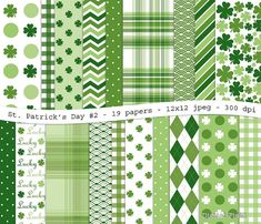 St. Patrick's Day No.2 digital scrapbooking paper pack - 19 jpeg green printable papers, 12x12, 300 dpi - instant download on Etsy, $3.50