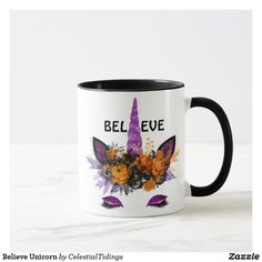 Believe Unicorn Mug - autumn gifts templates diy customize Halloween Cups, Unicorn Halloween, Diy Halloween Decorations, Halloween Themes, Purple Glitter, Custom Mugs, Festival Party, Home Gifts, Believe