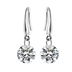 925 Sterling Silver Round Cut Aaa Cz Charm Wedding Engagement Eardrops Earrings