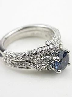 Diamond Wedding Rings : check out that band! its perfect for covering a high-standing center stone on . - Buy Me Diamond Matching Wedding Rings, Wedding Matches, Pretty Rings, Beautiful Rings, Engagement Ring Settings, Diamond Engagement Rings, Diamond Rings, Solitaire Diamond, Dream Ring
