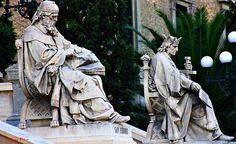 San Isidoro y Alfonso X el Sabio. Biblioteca Nacional. Paseo Recoletos. Madrid by Carlos Viñas, via Flickr