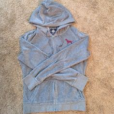 Victoria's Secret PINK velour hoodie Grey PINK velour hoodie. In great used condition.  Is a medium but fits like a small. PINK Victoria's Secret Tops Sweatshirts & Hoodies