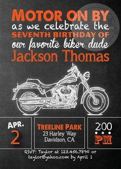 Harley Davidson Birthday Party Invitation by socalcrafty on Etsy
