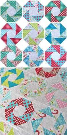 From triangles to octagons to squares! Learn how to sew 3 intricate block designs using a SIMPLE piecing technique. Quilt Square Patterns, Patchwork Quilt Patterns, Paper Piecing Patterns, Hexagon Quilt, Square Quilt, Dress Patterns, Quilting Tutorials, Quilting Projects, Quilting Designs