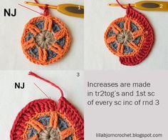 Circles of the Sun Mystery CAL 2015 - overlay crochet - Block 5 crochet pattern by LillaBjornCrochet Crochet Mandala Pattern, Crochet Square Patterns, Crochet Circles, Crochet Blocks, Crochet Diagram, Crochet Stitches Patterns, Crochet Patterns For Beginners, Crochet Designs, Freeform Crochet