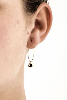 Gold Hoop Earrings Geometric Pendant The Tiny Triangle Charms Are Made From 16 Karat