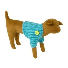 Blue Crocheted Sweater Shrug with yellow crocheted flowers. Crocheted yellow flowers have small blue buttons for center. Just a little something to keep that small dog comfortable $24.00 - available on Artsydog.com