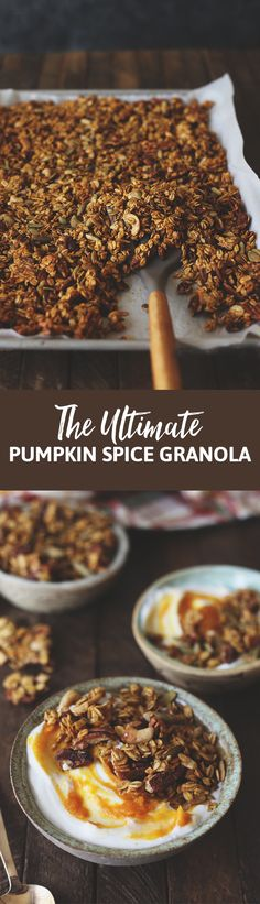There are plenty of pumpkin spice recipes out there and even more granola recipes, but none as good as this ultimate pumpkin spice granola! It's an easy, one-bowl recipe that makes the perfect fall breakfast. Add to your yogurt, smoothie or simply on its own. Granola also makes a great hostess gift or holiday present! Whip up this ultimate pumpkin spice granola and try NOT to eat it by the handful!