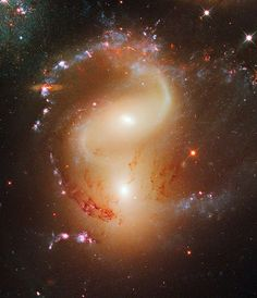 Hubble NGC 7318 (also known as UGC 12100 or HCG are a pair of colliding galaxies about 300 million light-years away in the Constellation Pegasus. They are members of the famous Stephan's Quintet. Cosmos, Hubble Space Telescope, Space And Astronomy, Astronomy Pictures, Space Photos, Carl Sagan, Amazing Spaces, To Infinity And Beyond, Deep Space