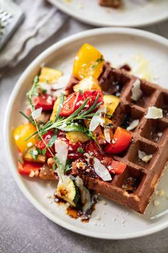 Have some fun at dinner time and make these savory parmesan waffles, full of flavorful cheese, high-protein flour and roasted Mediterranean vegetables. Sugar Cookie Recipe For Decorating, Sugar Cookies Recipe, Roasted Mediterranean Vegetables, Roasted Vegetables, Veggies, Easy Salad Recipes, Vegetarian Recipes Easy, Fish Recipes, Dinner Recipes