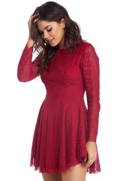 Burgundy Sweet Love Skater Dress  113bbc6cea43