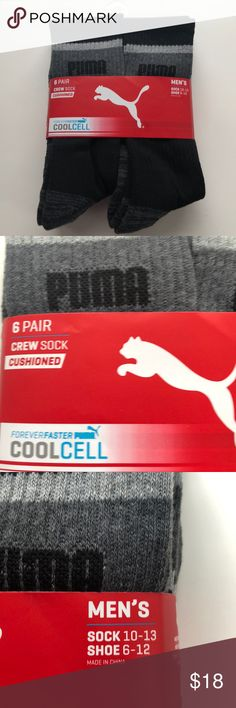 New 6 Pair Men's Puma Black Crew Sock Cushioned Condition: NWT Size:  Shoe 6-12 Sock 10-13 Color: Black  Material:  93% Polyester 5% Rubber 2% Spandex  Details:  Crew Sock, Cushioned, CoolCell Puma Underwear & Socks Athletic Socks