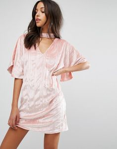 Buy it now. Missguided Velvet Choker Shift Dress - Pink. Dress by Missguided, Soft-touch crinkled velvet, Unlined design, V-neck, Choker strap detail, Wide sleeves, Relaxed fit, Machine wash, 95% Polyester, 5% Elastane, Our model wears a UK 8/EU 36/US 4 and is 178cm/5'10 tall. ABOUT MISSGUIDED With an eye on the catwalks and hottest gals around, Missguided's in-house team design for the dreamers, believers and night lovers. Taking the risks no one else dares to, its bodycon dresses, crop…