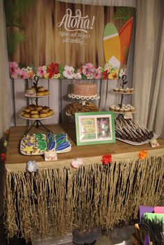 Luau Birthday Party dessert table!  See more party planning ideas at CatchMyParty.com!