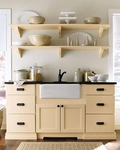 """See the """"Open Shelving: Martha Stewart Living Maidstone Kitchen in Fortune Cookie"""" in our Martha Stewart Living Kitchen Designs from The Home Depot gallery Stylish Kitchen, New Kitchen, Kitchen Decor, Shaker Kitchen, Kitchen Yellow, Pastel Kitchen, Kitchen Art, Country Kitchen, Kitchen Shelves"""