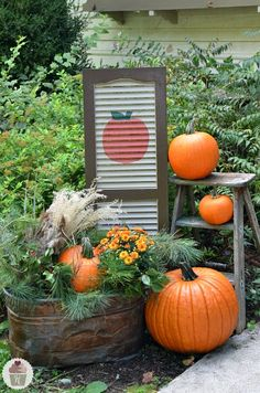 Fall Outdoor Decorating with DIY Painted Shutter :: HoosierHomemade.com