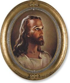 Jesus Christ Print in Oval Frame By Sallaman – Beattitudes Religious Gifts