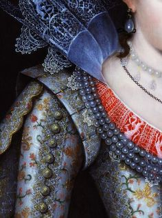 Portrait of Princess Elizabeth Stuart, detail, unknown artist, 1613.
