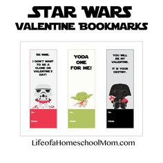 Don't miss these free printable Star Wars Valentine Bookmarks!